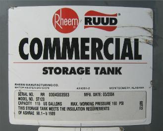rheem st120. rheem commercial storage tank st120 t